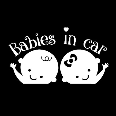 BABIES IN CAR Twins cute decal window sticker for Van Suv Car Custom Vinyl kids