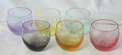 """Moser Etched Game Birds Whiskey tumbler 1 3/4"""" Complete set of 6"""