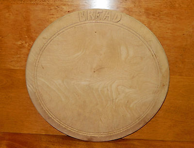 """Antique Carved Maple Round Bread Cutting Board Out Of Round Little Use  11"""""""