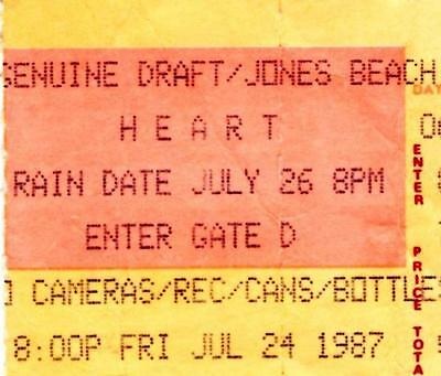 "HEART ""Bad Animals"" Tour Ticket Stub. 1987 Jones Beach Theater Wantagh,NY"