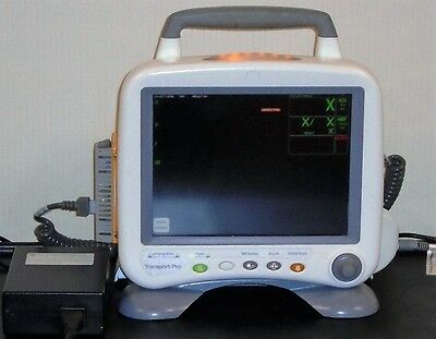 GE Transport Pro Medical Patient Monitor w/ Tram Module and Foot Base