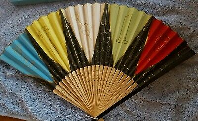 "Vintage ~ Japanese ~ Hand Painted Rice Paper Hand Fan In Box ~ 10"" X 16"""