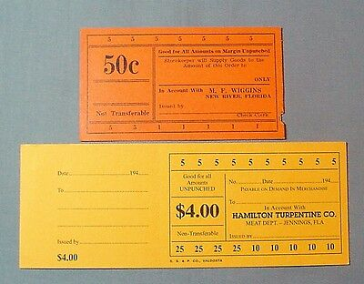 Jennings & New River, Florida Lumber Company Good For Token Punchcards