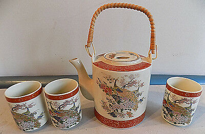 VINTAGE 4pc SET SATSUMA JAPAN PEACOCK PATTERN TEA POT SET W/ 3 CUPS *NO RESERVE*