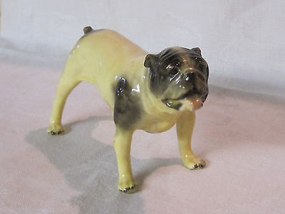 Vintage Mortens Studio standing bulldog dog figurine with label