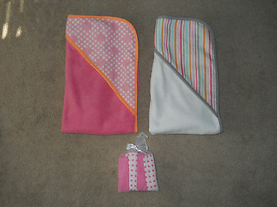 Lot of 2 Circo Baby Infant Girl Hooded Bath Towels w/NEW 8pk Washcloths