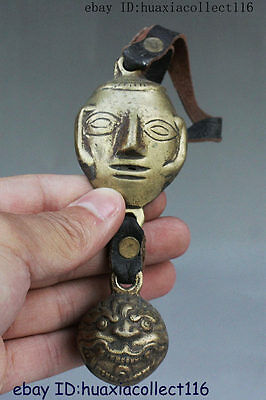 Tibetan Buddhism Bronze Phurba Dagger Holder Small Bell Buddha Head Statue