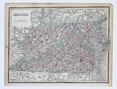 1893Virginia West Virginia Map Maryland Railroads Counties Townships ORIGINAL