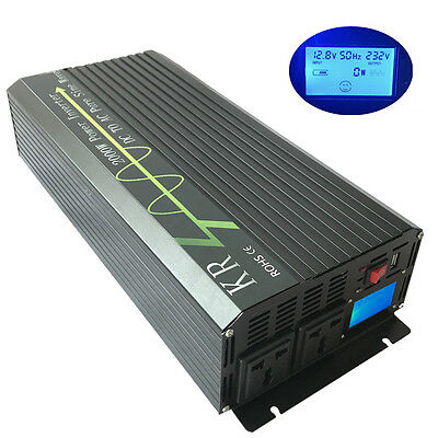 2000W Pure Sine Wave Power Inverter Peak 4000W 12V/24V/48V to 120V/220V LCD USB
