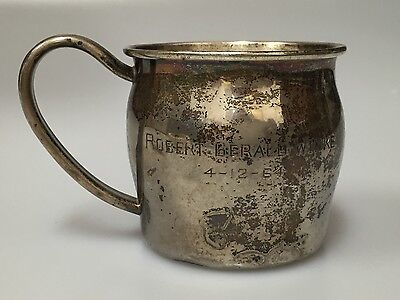 Antique sterling silver Lunt 119 baby child's cup handle engraved keepsake