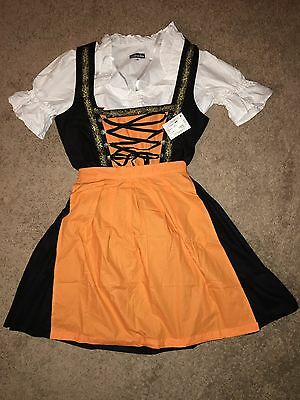 German Imported Black & Orange 3 Piece Dirndl