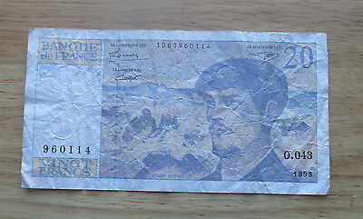 1993 France 20 Francs  World Currency Note