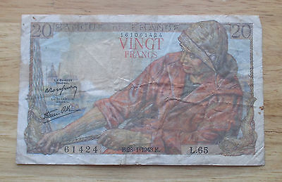 1943 France 20 Francs  World Currency Note  Rare Date