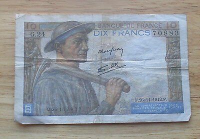 1942 France 10 Francs  World Currency Note