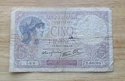 1940 France 5 Francs  World Currency Note