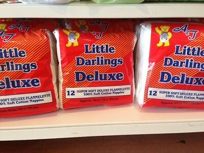 LITTLE DARLINGS DELUXE FLANNELETTE NAPPIES 12 PACK ( ONE DOZEN ) NEW 100% cotton