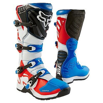 Fox 17 Comp 5 LE Fiend Youth MX Off Road Motorcross Boots Blue Red White