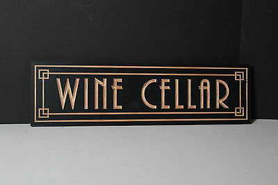 Art Deco Wine Cellar Sign | Wooden | Carved | Antique Rustic Style