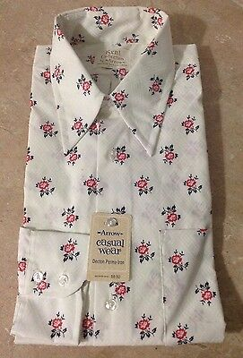 Vtg 60s 70s Arrow Kent Shirt Hippie Floral Pointy Collar L New Old Stock