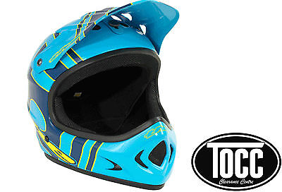 T.H.E. Point-5  BMX or Downhill Full Face Helmet ABS Slant (Blue/Yellow)