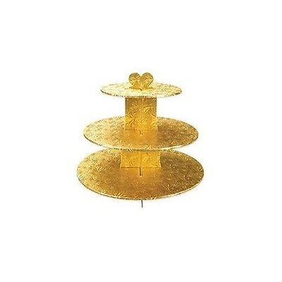 NEW Enjay Gold Cupcake Stand 8.5 x 12.5 x 14.5 Embossed Foil 3 Tier