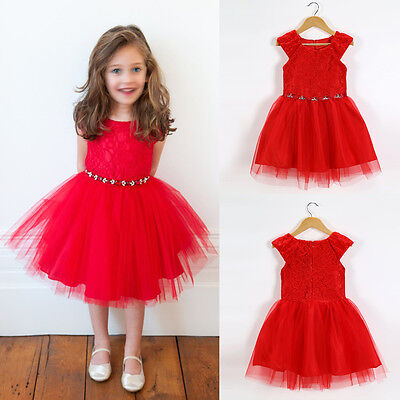 Flower Girls Lace Tulle Princess Dress Kid Party Pageant Wedding Bridesmaid Gown