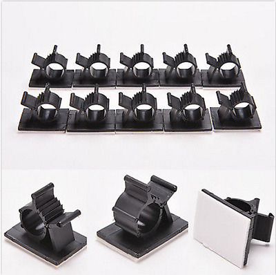 10Pcs Black Adhesive Cord Management Nylon Wire Adjustable Cable Clips Clamps