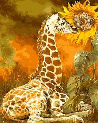 Paint By Numbers Kit 50*40cm 8099 Giraffe and Sunflower AU Stock