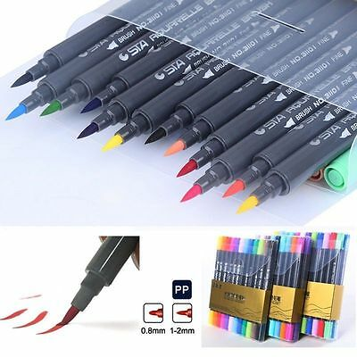 STA 12/24/36/48 Color Watercolor Art Graffiti Sketch Dual Nibs Marker Pen Anime