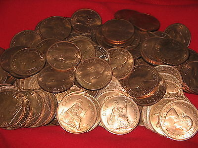 *100x QUEEN ELIZABETH II UNC 1967 PENNIES *WOW* FIFTY YEARS OLD *FREE UK POST*