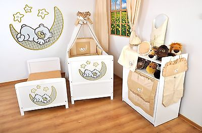 NEW WHITE 2in1 COT-BED 140 x 70 WITH A 3-PIECE BEDDING no 10 - MATTRESS FREE