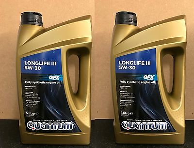 2 x Quantum Longlife 5W-30 Fully Synthetic Engine Oil =10 Litre