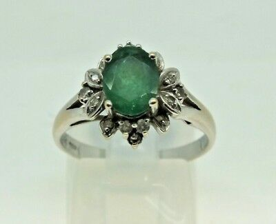 Vintage 18Ct White Gold Emerald And Diamond Cluster Ring Size N