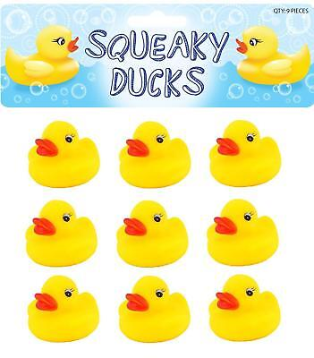 9 Rubber Ducks - 5cm - Bath Toy Children Kids Party Bag Filler Water Yellow