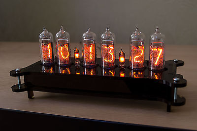 KIT DIY NIXIE Steampunk IN-14 Desk Clock + Plastic case + Power Supply + Remote