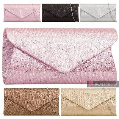 Ladies Womens New Chain Strap Shimmer Party Evening Clutch Handbag