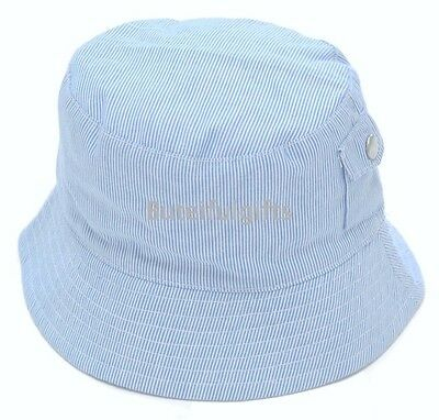Baby Boys Blue Striped Soft Cotton Summer Sun Bucket Hat 6-12 12-24 Months