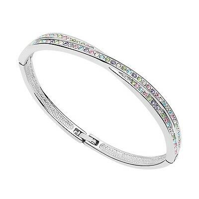18K White Gold Plated Made With Swarovski Element Colourful Crossover Bangle