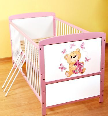 NEW WHITE-PINK 2in1 COT-BED 140x70 no 40 - RRP 129,00 GBP