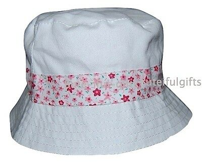 Baby Girls White/Floral Summer Sun Hat 12-24 Months