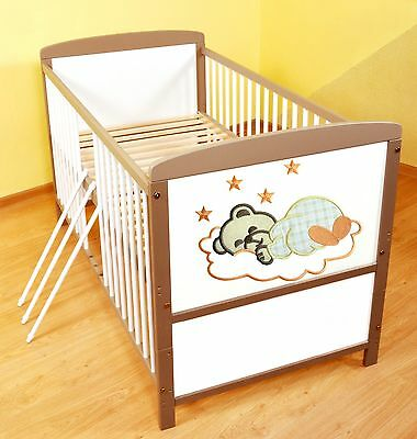 NEW WHITE-BROWN 2in1 COT-BED 140x70 no 12 - RRP 129,00 GBP