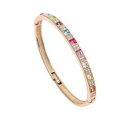 18K Rose Gold Plated Made With Swarovski Crystal Colourful Square Cut Bangle