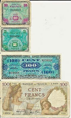 1944 French Notes  2, 10, 100 Francs and 1941 100 Francs French Bank Note