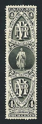 #RS85d, The Father Mathew Temperance & Mfg., 4c Black on wmk., VF, 2016 PF cert.
