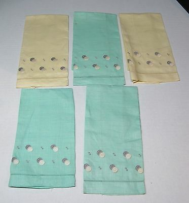 Vintage Embroidered Linen Hand Towels Lot 5 Soft Yellow & Green w Dot Embroidery