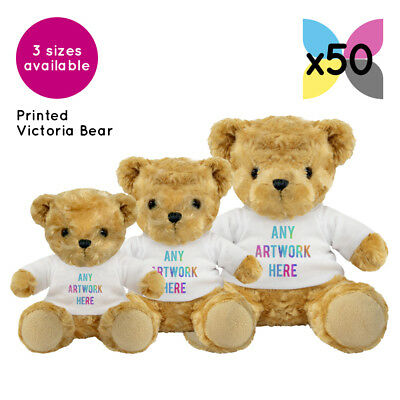 50 Personalised Promotional Soft Toys Victoria Teddy Bears Gifts Ur Logo Printed