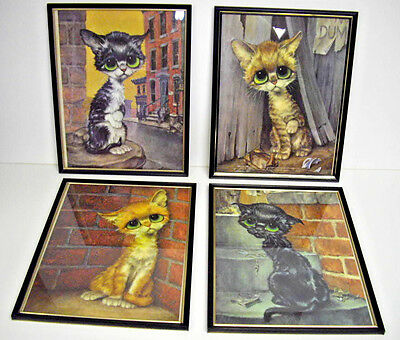 "VINTAGE SET 4 GIG BIG SAD EYES CATS PITY KITTY 1960s FRAMED ART PRINTS 11"" X 14"""