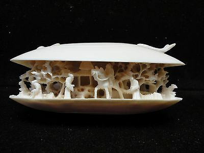 Vintage Hand Carved  Clam Shell Intricate Carving Real Deal