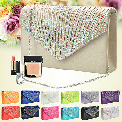 UK Girly Satin Diamante Party Prom Bridal Evening Clutch Handbag Wallet Purse