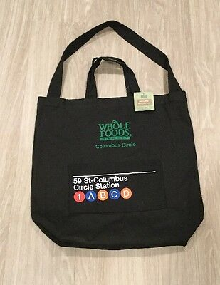 Whole Foods Bag Canvas Cotton Tote Colombus Circle NYC Subway With Pocket New